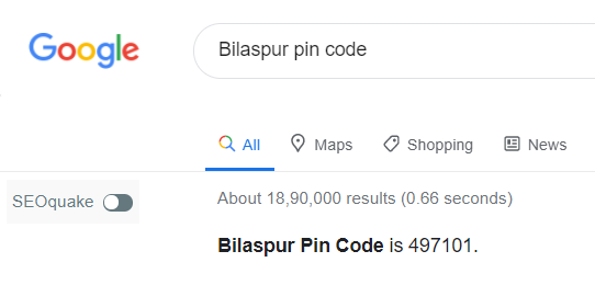 This was found when I was searching the Bilaspur PIN code in Google, which I am sharing with you in the screenshot.