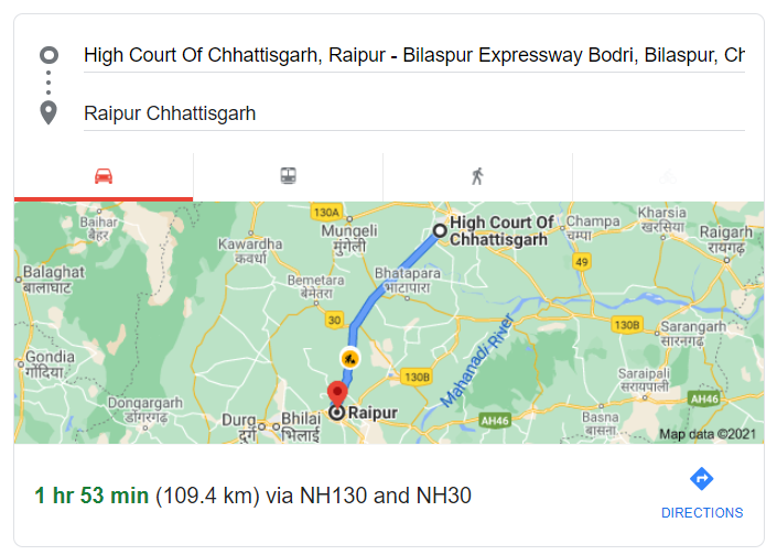 the distance from Bilaspur High Court to Raipur, the capital of Chhattisgarh, is 109 km